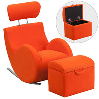 Flash Furniture HERCULES Series Orange Fabric Rocking Chair with Storage Ottoman [LD-2025-OR-GG]