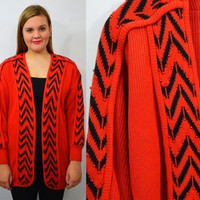 80s Open Front Cardigan Oversize Large RED Bead Hipster Black Geo Striped Cute Women's Vintage Clothing 1980s 1990s Long Sweater Jumper