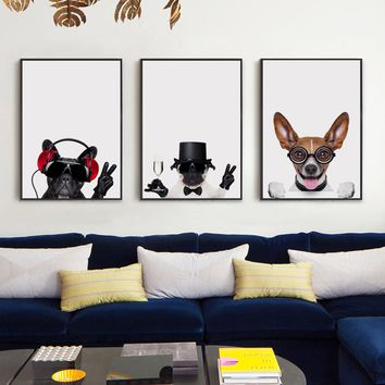 3PCS Modern Fashion Lovely Pets Dog A4 Print Art Canvas Poster Wall Photo Living Room Bedroom Decorative Painting No Frame AN060