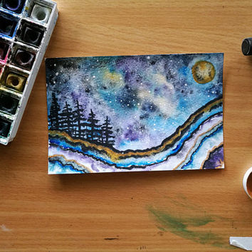 Geode Watercolor Landscape, Blue, Amethyst, Night Sky, Galaxy, Moon, Evergreen Trees, Pacific Northwest, Abstract, Surreal, Nature, Decor