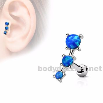 Blue Triple Opal Prong Set 316L Surgical Steel Tragus/Cartilage Barbell 16g  Upper Ear Jewelry
