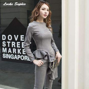 2 piece set womens pants and tops 2018 Spring cotton blend stripe Lotus leaf suits set ladies Skinny business suit twinset Girls