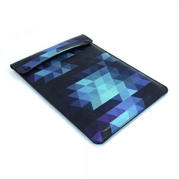 Leather iPad mini case - Geometric Triangles in Indigo blue
