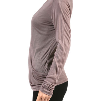 Sheer Long Sleeve Wrap Front Knit Top