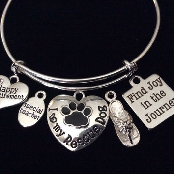 Custom I Love My Rescue Dog Paw Print Heart Charm on a Silver Expandable Adjustable Wire Bangle Bracelet Meaningful Gift Animal Lover Gift Rescue