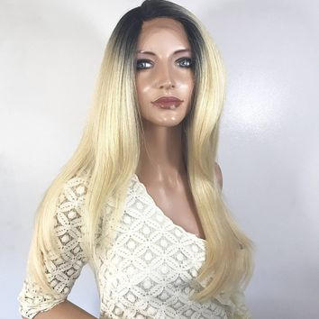 Dark blond straight Ombre'  Human hair Multi Parting lace front wig 20'