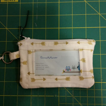 ID Wallet, Coin Purse, Zipper Closure, Made With trendy gold arrow Fabric