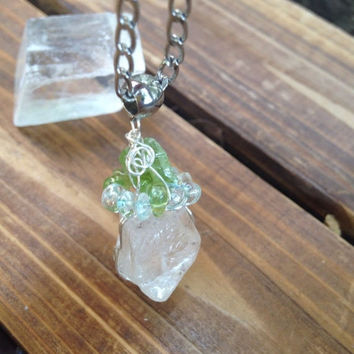 50%OFF SALE Natural Quartz Crystal Pendant with Raw Peridot Apatite, Citrine beads Healing Crystals Reiki Yoga