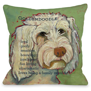 """Golden Doodle"" Indoor Throw Pillow by Ursula Dodge, 16""x16"""