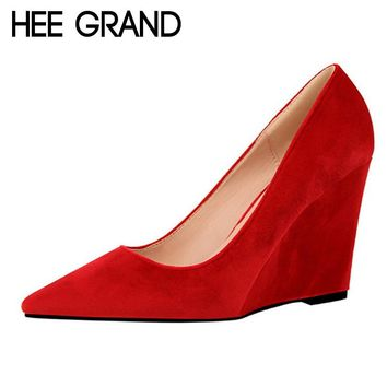 HEE GRAND Brand Women's Pointed Toe High Heel Wedges