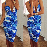 Blue Floral Spaghetti Strap V Neck Bodycon Midi Dress