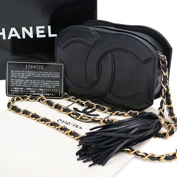 Auth CHANEL Black Leather Fringe Tassle Gold Chain Shoulder Bag Purse #25099