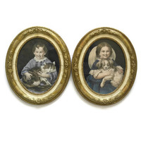 Antique Childrens Portraits. 19th Century French Framed Illustrations. 19th Centruy French Art.