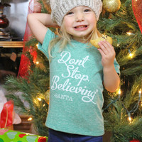 KIDS Don't stop believing crew neck t-shirt- more colors