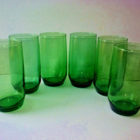 Vintage Anchor Hocking Charm Set 6 Forest Green Tumblers Iced Tea Glasses 12 oz 1950s MINT Kitchen Serving Home Holiday Decor from