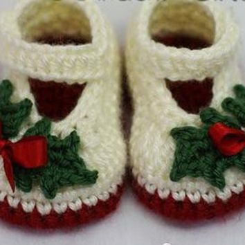 Handmade Crochet Holly Christmas Baby Shoes