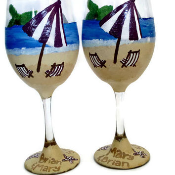 Beach Wine Glass - Beach Wedding Gifts - Ocean Themed Wine Glasses - Set of Two Glasses - Anniversary Gifts - Water and Sand Wine Glasses