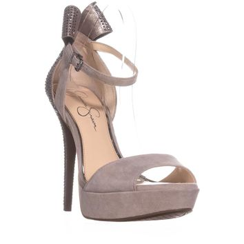 Jessica Simpson Baani Sparkle Bow Heel Dress Platform Pumps, Warm Stone, 10 US / 40 EU