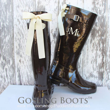 Custom Monogrammed Chocolate Rain Boots with Bows