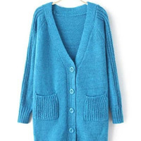Blue Long Knitted Cardigan