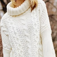 White Long Sleeve Turtleneck Chunky Cable Knit Pullover Sweater