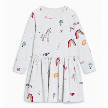 Jumping meters new Designs unicorn dresses girls clothing dresses 2018 long sleeve animals printed autumn baby clothes dress kid