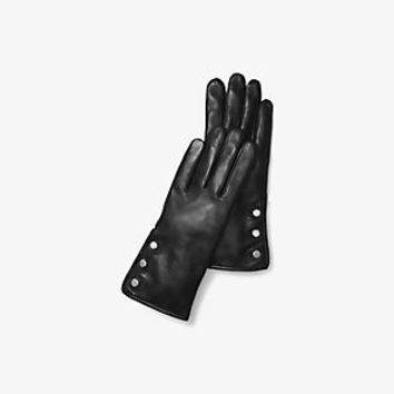 Triple-Button Leather Gloves | Michael Kors