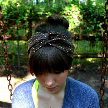 Brown, Olive, and Pink Patterned Turban Headband.