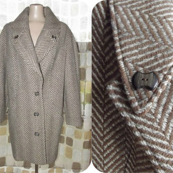 Vintage 50s 60s Wool Herringbone Chevron Swing Coat Winter Jacket Camel Tan Oatmeal L