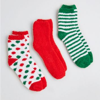 Plush Polka Dot Holiday Sock Set
