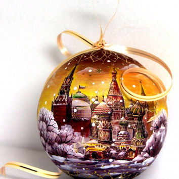 FREE SHIPPING Russian wood Christmas ornament Red Squere Moscow Kremlin ornament hand painted wood art lacquer ornament non toxic wood art