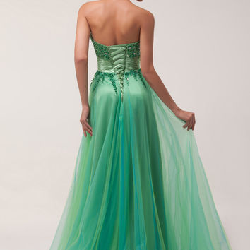 Green Strapless Beaded Flowing Maxi Prom Dress