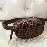 FENDI Woman Men Fashion Leather Waist Bag Tote Satchel