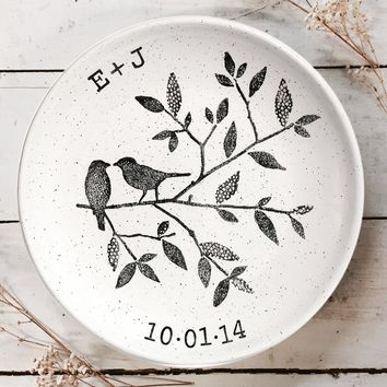 Personalized Song Bird Wedding Plate