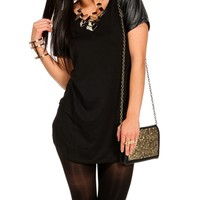 Black Tunic With Faux Leather Sleeves