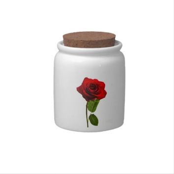 """Single red rose"" design candy jars"