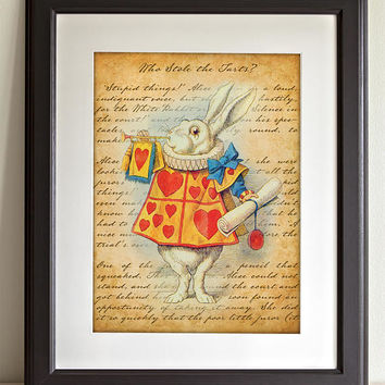 Alice in Wonderland Wall Art Poster - White Rabbit, Dressed as a Herald - Nursery Home Decor - Childrens Illustration - 11x14 Unframed Print