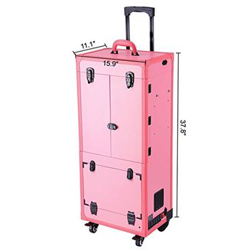 Koval Inc. Pro Artist Rolling Makeup Organizer Case w LED Light Mirror (Pink)
