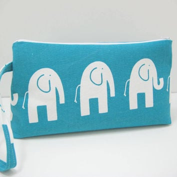 Large Elephant Pouch, Aqua Elephant Diaper Clutch, Travel Bag,  Ready to Ship