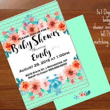 Baby Shower Invitations, Floral,  mint and peach ,mint & coral, Printable digital,Boho, Baby Shower Invitations, 5x7 baby shower invitation
