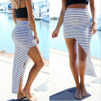 Black & White Striped Asymmetric Cut Out Maxi Skirt