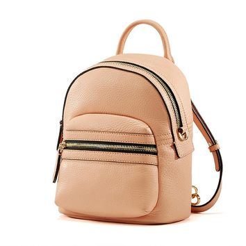 Genuine Leather Mini Travel Backpack Bag