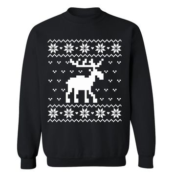 Moose Themed Cute Funny Christmas Ugly Sweater Holiday X-mas Party Crewneck for Men and Women