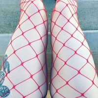 Fishnet Tights-Red