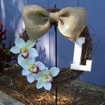 Wreath Personalized-ORCHID SPLENDOR-Beach Home Decor, Summer Wreaths, Burlap Wreath, Custom Front Door Wreath, Housewarming, Wedding Gift,
