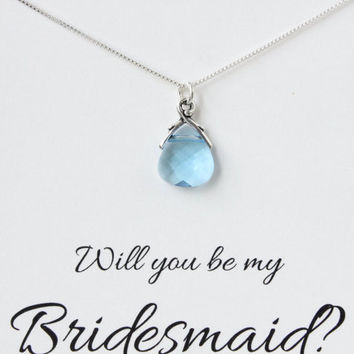 Gift for Bridesmaid invite, something blue, Swarovski crystal silver necklace, Will you be my bridesmaid box beach wedding bridal party gift