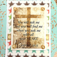 "You Will Seek Me and You Will Find Me Note Card, Jeremiah 29:13 , Religious, Believe, Love, Friend, Stars, Flourishes, God, Cross -4"" x 5.5"""