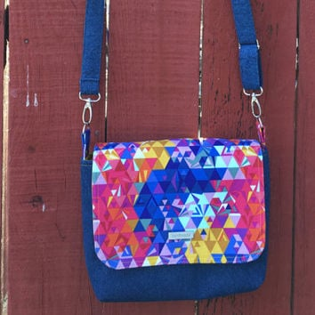 Small Messenger Bag-Crossbody bag-Travel purse-Very Colorful Alison Glass Print