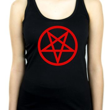 Red Inverted Pentagram Racer Back Tank Top Shirt Occult