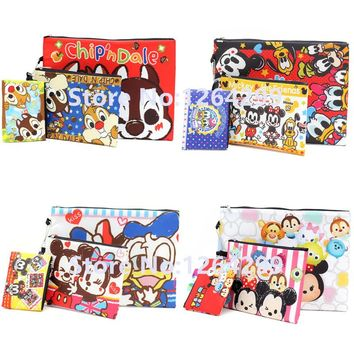 Fashion Dale and Chip Tsum Tsum Mickey Minnie Donald Duck Daisy Girls Woman Portable 3-Pack Cosmetic Bags Cases Children Gifts